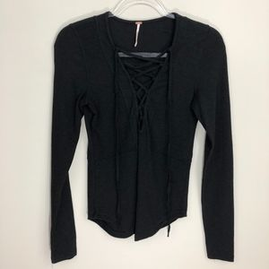Free People Black Lace Up Top S